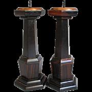 Japanese Pair Vintage Shokudai or Candle Holders of Karaki Ebony Wood and Copper