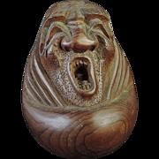 Japanese Vintage Wooden Folk Art Ornament of Yawning Futoo-oo 不倒翁 Daruma