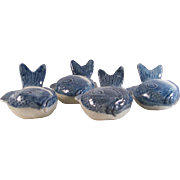 Japanese Antique Seto Ware Blue and White Porcelain Set of Four Floral Fish Dishes