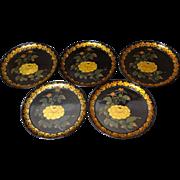 Japanese Vintage Set of Five Urushi Lacquered Wood Trays with Gold Maki-e 蒔絵