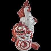 Japanese Antique Kutani Porcelain Red and White Okimono Statue of a Foo Dog or Shishi ...