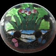 Japanese Antique Ginbari Cloisonne on Bronze Kogo or Trinket Box with Iris