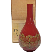 Fine Red Lacquerware Vase of Kinma Work 金馬 by  Living National Treasure Masami  Isoge Nosu