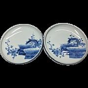 A Very Special Pair of Vintage Hirado Mikawachi-yaki Porcelain Plates by the Kakushou Kiln