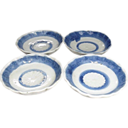 Antique Japanese 瀬戸 Seto Set of Blue and White Porcelain Tea or Small Plates with ...