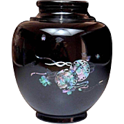 Lacquered Wood Vase with Inlaid Abalone Shell Decoration of Japanese Taiko and Sakura