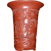 Chinese Red Clay Dragon Planter or Large Vase
