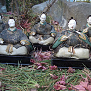 SOLD Japanese Antique Hina-Ningyo Girls Day Dolls of Gonin-Bayashi or Court Musicians