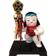 SALE Japanese Vintage Gosho Ningyo Clay Doll a Palace Doll of a Young Samurai Child