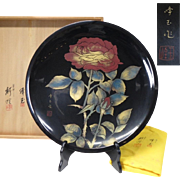 Japanese Vintage  Wajima-nuri 輪島塗 Large Wood and  Lacquerware Platter