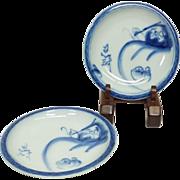 Antique Japanese Imari 伊万里  Pair of Plates with Dharma and Koumori or Bats