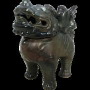 Japanese Glazed Pottery Koro 香炉 or Incense Burner of a Shishi Lion 獅子