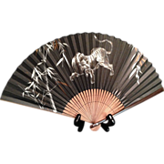 SALE Japanese Vintage Bamboo Sensu or Folding Fan with Tiger Painting