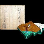 Japanese Rare Antique Kutani 九谷焼 Ware Porcelain Kogo Incense Holder or Small Box