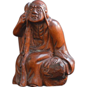 Old Netsuke of a  Monk and his Walking Stick