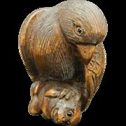 Japanese Vintage Wood Netsuke Hawk on a Monkey
