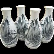Japanese Vintage Arita Mikawachi Hirado Porcelain Sake Bottles Set w/ Box