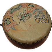 SALE Chinese Antique Make an Offer Hand Painted Wood Dragon Toy Drum