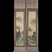 SALE Japanese Kakejiku 掛軸 or Hanging Scroll titled Summer landscape by Famous Artist Shiza