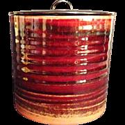 Beautiful Japanese Vintage Seto Ware Glazed Pottery Mizusashi or Canister by Famous Potter Toh