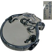 Chinese Glazed Porcelain Shūfǎ 書法  or Calligraphy Ink Stone of a Dragon in Relief