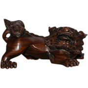 Japanese Vintage Wood 根付 Netsuke of a Recumbent Foo Dog