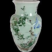 Japanese Vintage Celadon Beveled Cut Vase with Real Floral Relief under Glaze