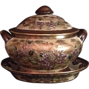 Japanese Vintage Satsuma Covered Soup Tureen and Tray in Flowers and Gold