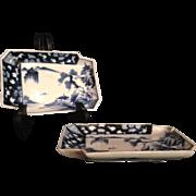 Japanese Antique Edo period Pair of Porcelain Plates from the Arita Mikawachi Hirado Kasho- ..