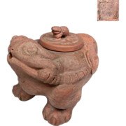 A Chinese Vintage Unglazed Pottery Tea Pot of a Mythical Chen Chu 陈珠  or Three ...