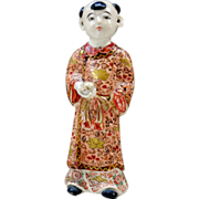 A Rare Japanese Antique Satsuma  Ceramic Ornament of Karako by the Very Famous Chin Jukan ...