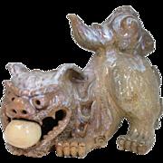 Japanese Vintage Hagi -yaki Pottery Okimono or Statue of a 唐獅子 Karajishi or ...