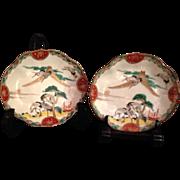 SALE Japanese Antique Colorful Imari 伊万里焼 Rokkaku-zara Porcelain Six Crane Plates, Eac