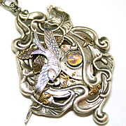 SOLD Art Nouveau Style Steampunk Necklace Victorian Style Bird Statement Necklace