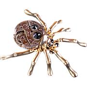 SOLD Victorian Gothic Spider Brooch Pin Artisan Assemblage