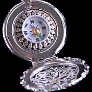 Silver Working Compass Filigree Locket Necklace Blue Bird