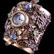 Art Nouveau Style Cuff Bracelet Watch Cuff Bracelet Dragonfly Butterfly Bracelet
