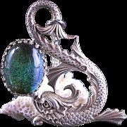Koi Fish Necklace Mood Necklace Vintage Mood Stone