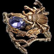 Twig Ring Beetle Ring Amethyst Ring