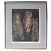 "SOLD ""Three Owls"" Woodblock by Fannie Mennen - Founder of Plum Nellie"