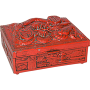 SALE 1940's Japanese Lacquered Metal Dragon Cigarette Box