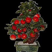 REDUCED Large Carved Jade & Stone Fruit Tree