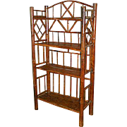 Vintage Scorched Bamboo Etagere