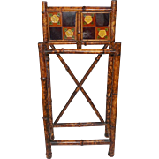 REDUCED English Arts & Crafts Bamboo Stick Stand with Tiles