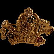 SALE Gold tone Enamel/Rhinestone Garden Brooch