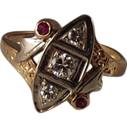 SALE Platinum and 14k Old transitional cut Diamonds Ruby  ring