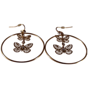 REDUCED Avon Gold tone Hoop/Butterfly pieced  earrings
