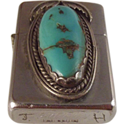 vintage Zippo with huge Turquoise Stone