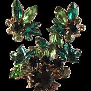 SALE Vintage Rhinestone Leaf/brooch/clip Earrings