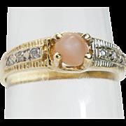 SALE CLEARANCE 14K Angel Skin Coral & Diamond Ring fine jewelry